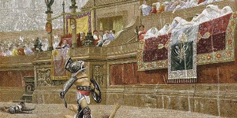 Gladiator looking at emperor