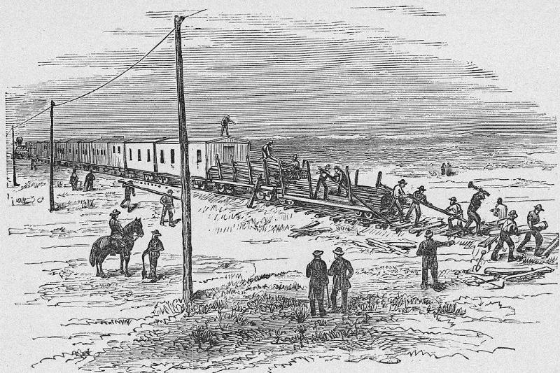Construction of a railroad