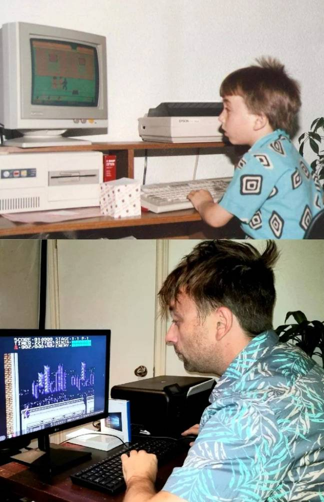 man sitting at computer and photo of him doing the same as a kid