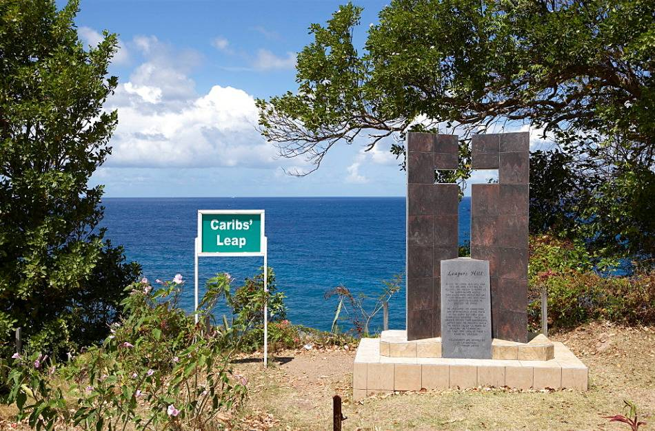 sign that says carib's leap with decorative sign