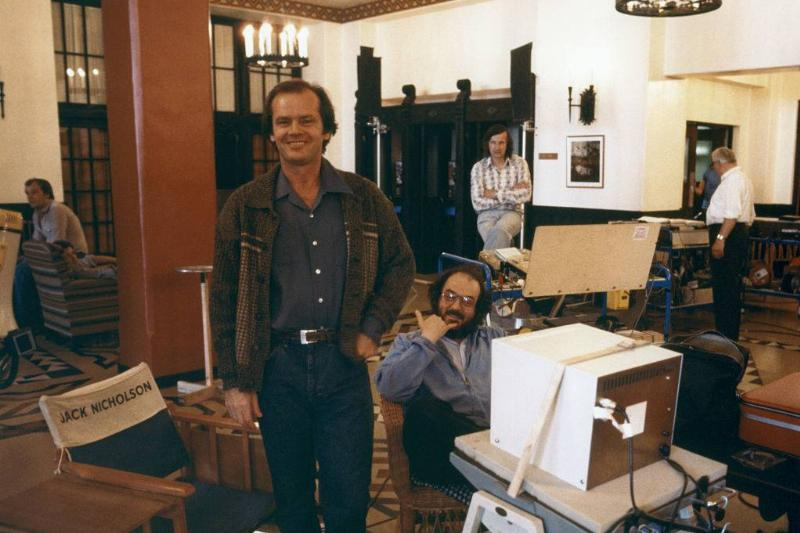 American actor Jack Nicholson and director Stanley Kubrick on the set of his movie The Shining, based on the novel by Stephen King.
