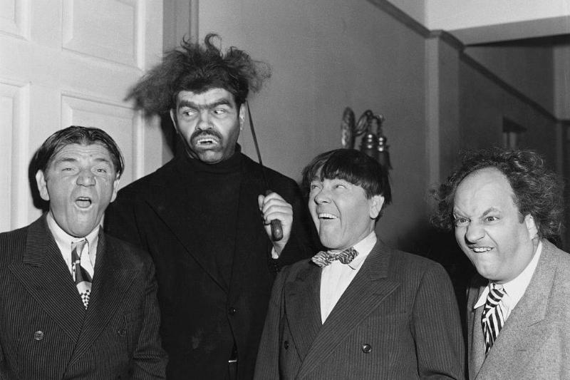 Shemp Howard, Duke York, Moe Howard, and Larry Fine