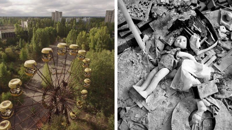 top shot of ferris wheel and photo of doll amongst rubble