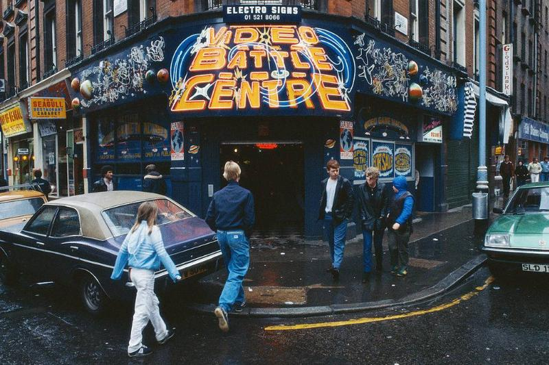 The Video Battle Centre, a video arcade on the corner of Rupert Street and Brewer Street in London's Soho, circa 1979.