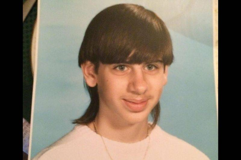 bowl cut mullet hairstyle on one person
