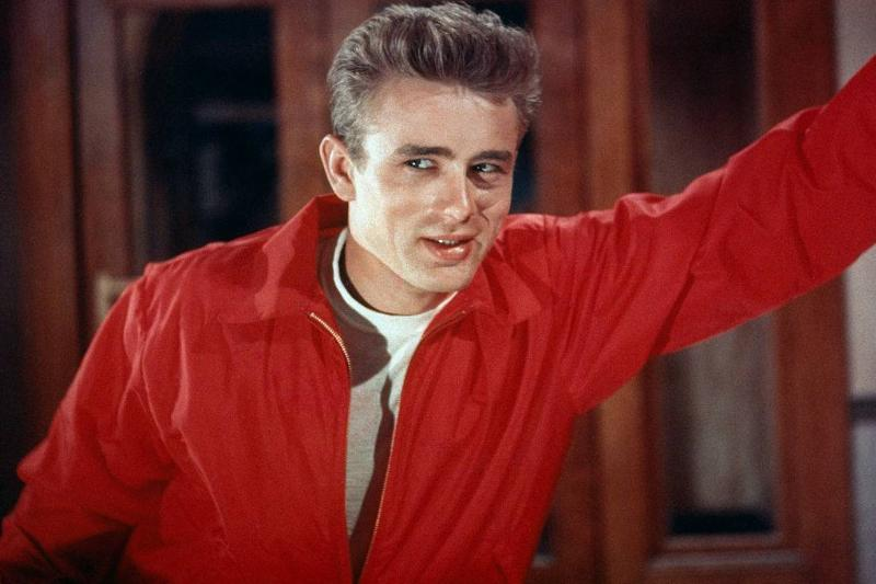 james dean wearing a red jacket in rebel without a cause