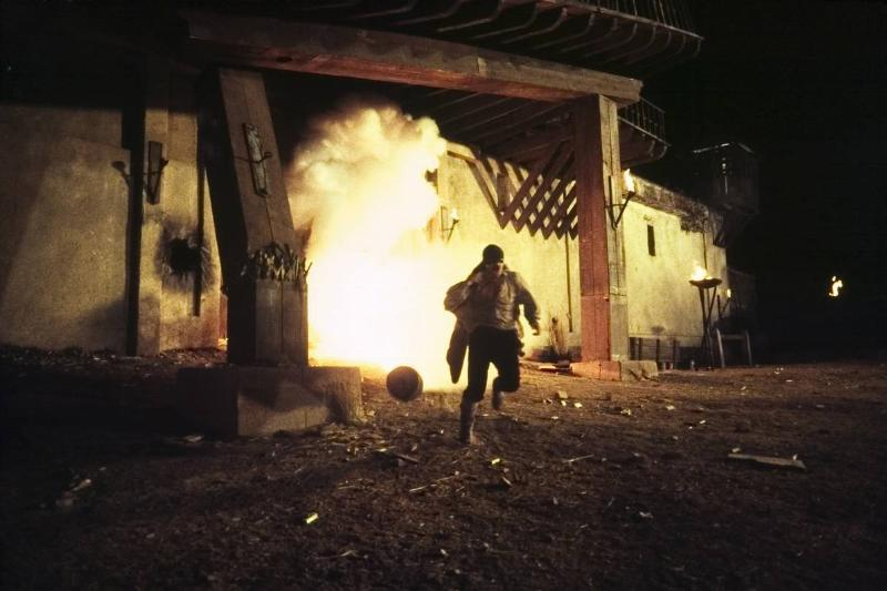 Banderas running away from an explosion