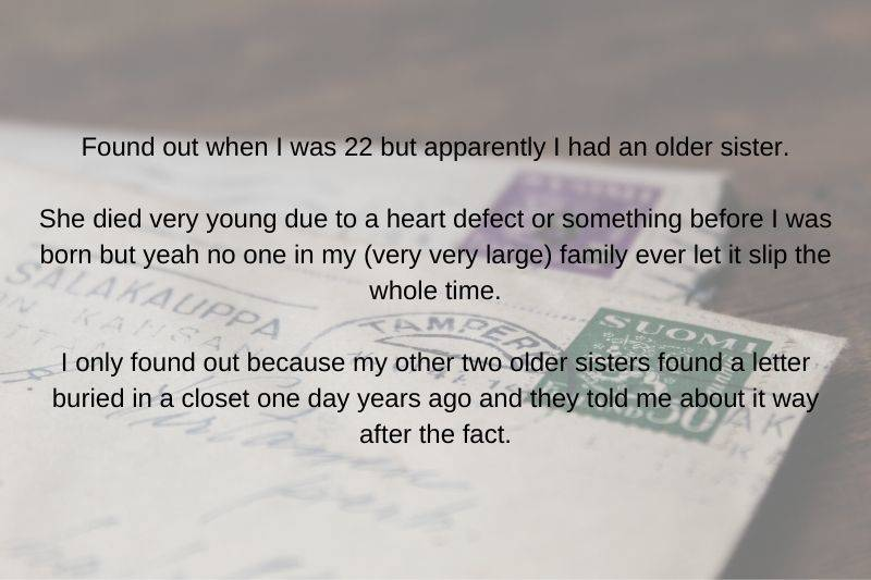 someone found out they had a secret sibling from old letters