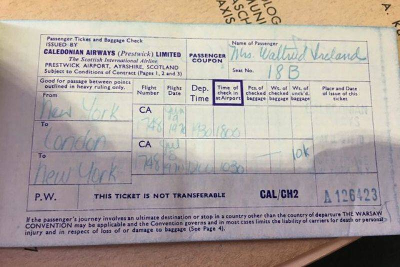 a plane ticket from the 1970s