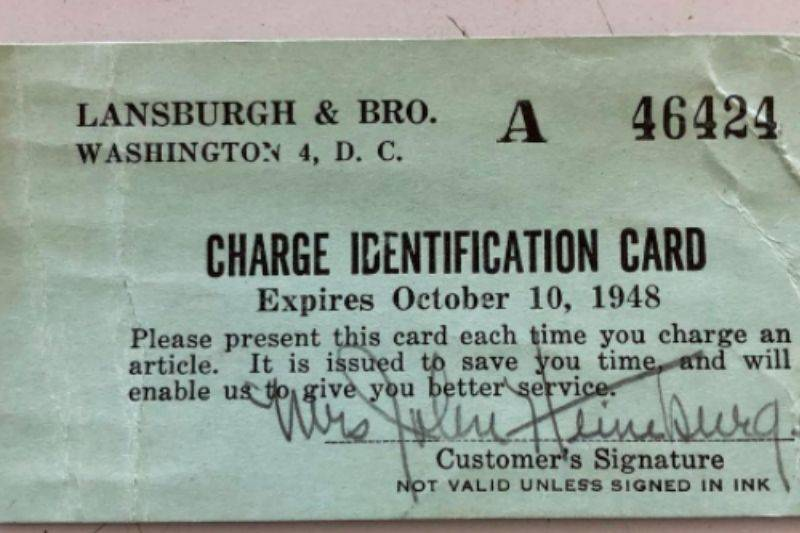 a charge card from an old department store