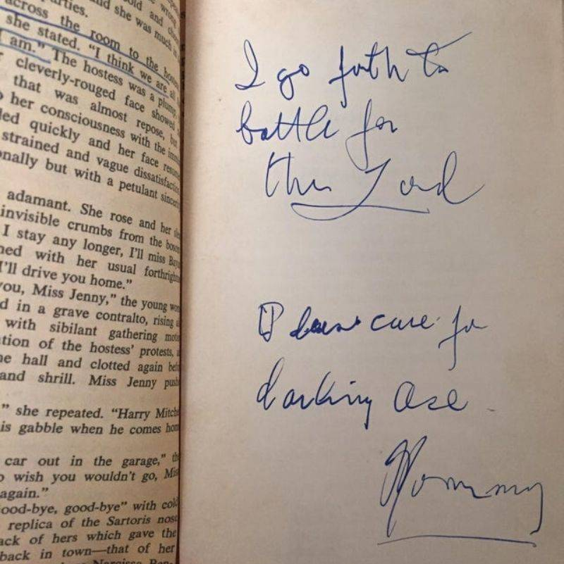 a note from someone's mom in a book