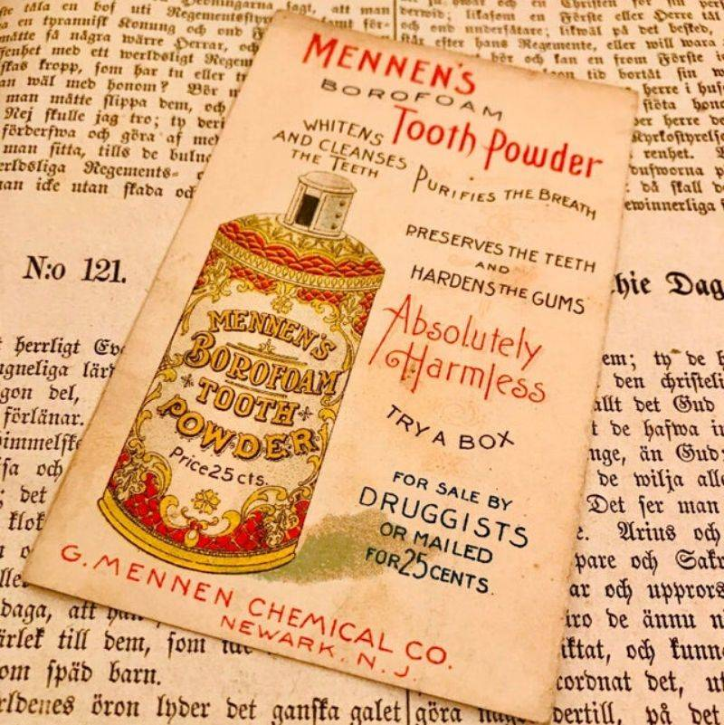 an ad for toothpowder from the 1850's