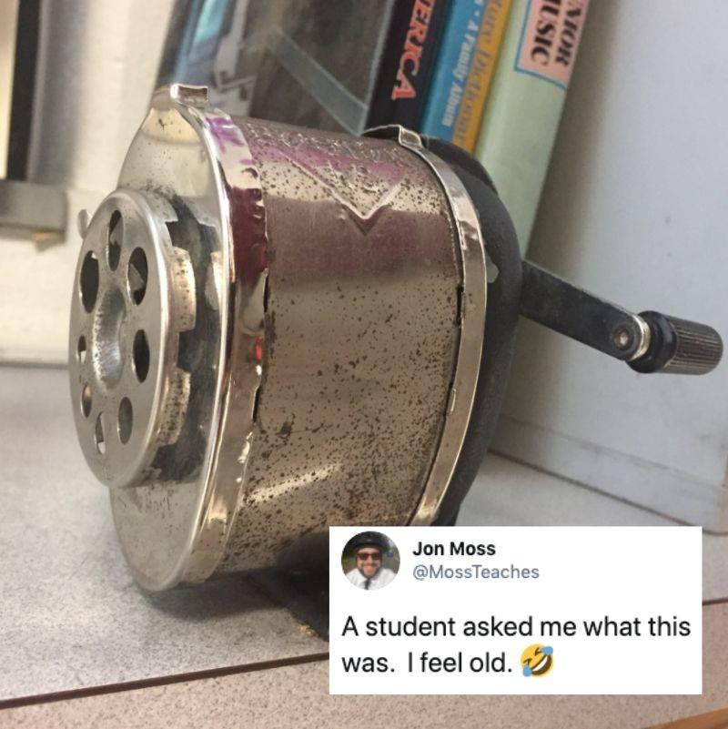 a kid didn't know what a pencil sharpener was