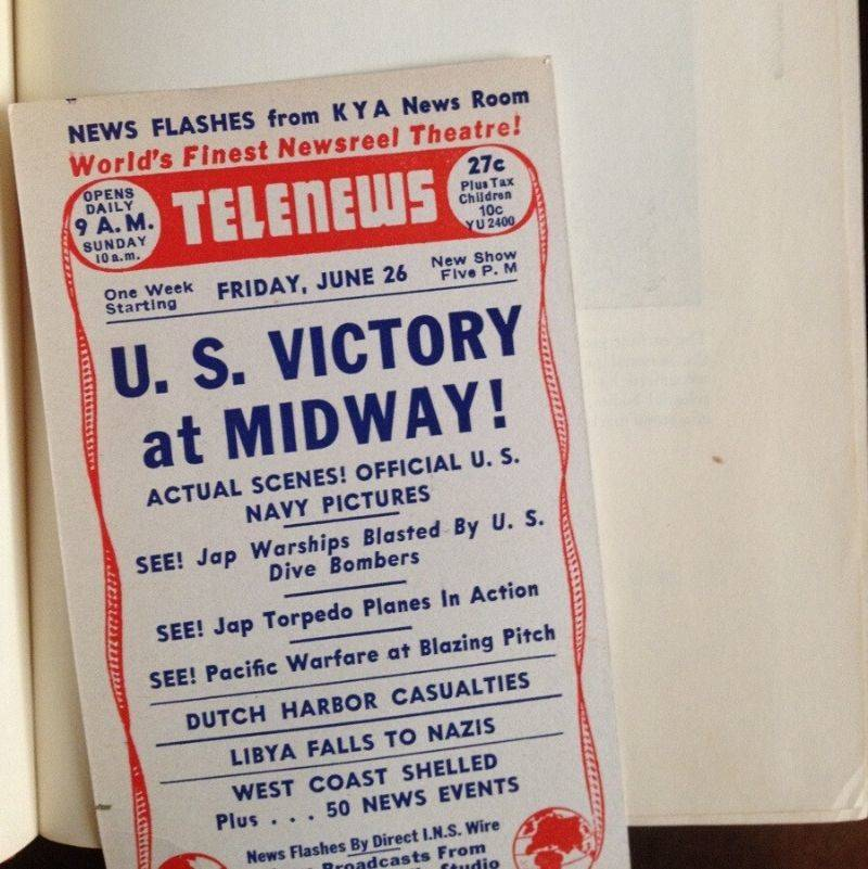 a pamphlet for watching a news broadcast in the theatre