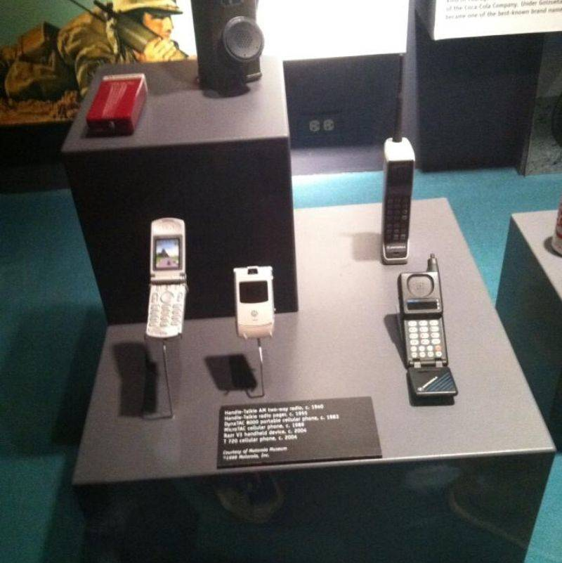 a Motorola Razor in a museum