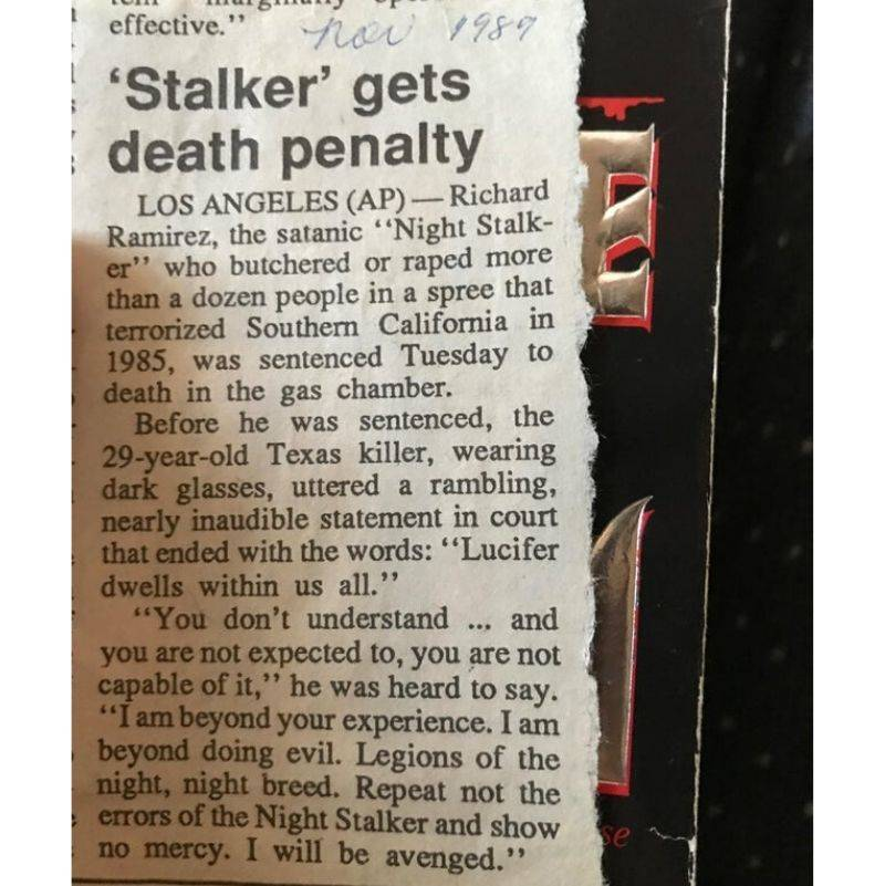 a news paper clipping about serial killer Richard Ramierz