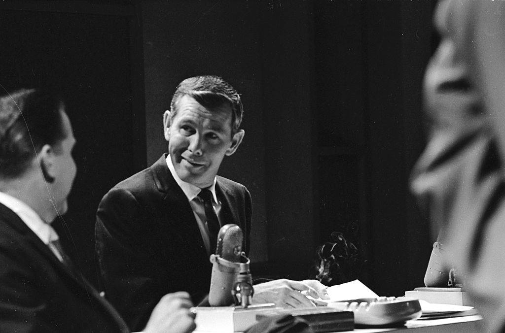 Johnny Carson with microphone