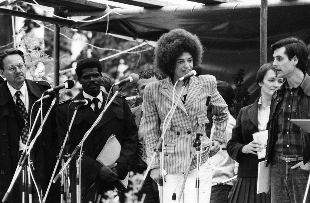 Angela Davis giving a speech