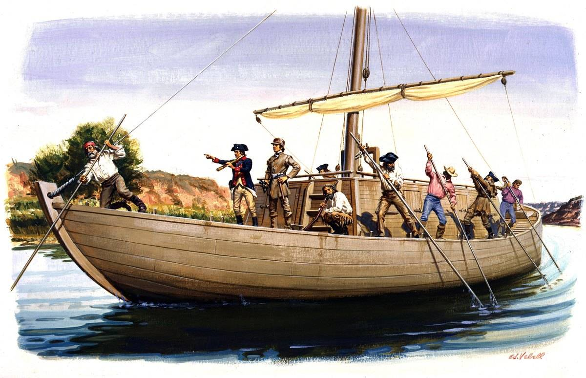 A painting depicting explorers Meriwether Lewis and William Clark on their Keelboat