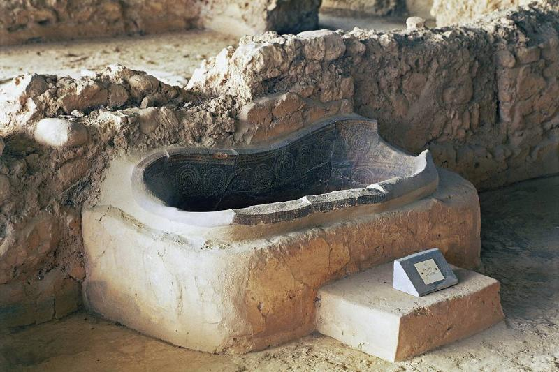 An ancient Greek bathtub is excavated at the Palace of Nestor in Pylos.