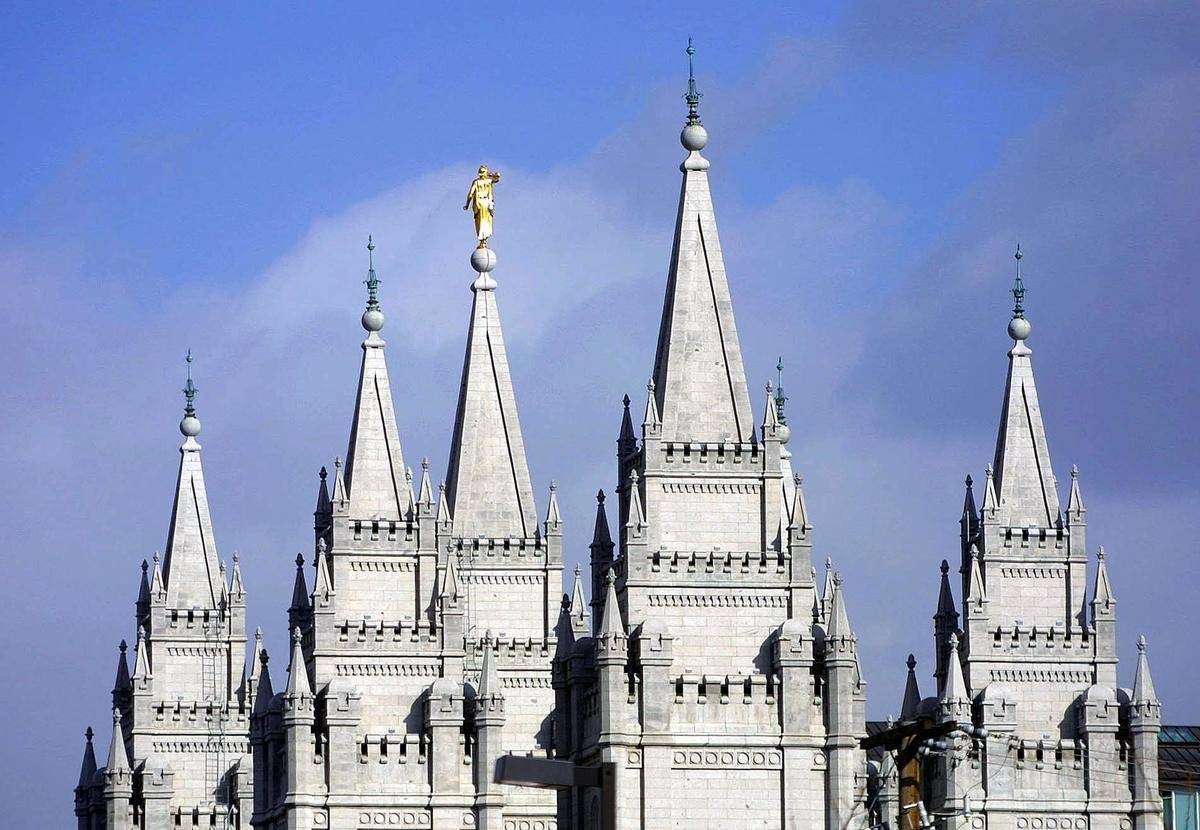 spires on mormon temple in Salt Lake City
