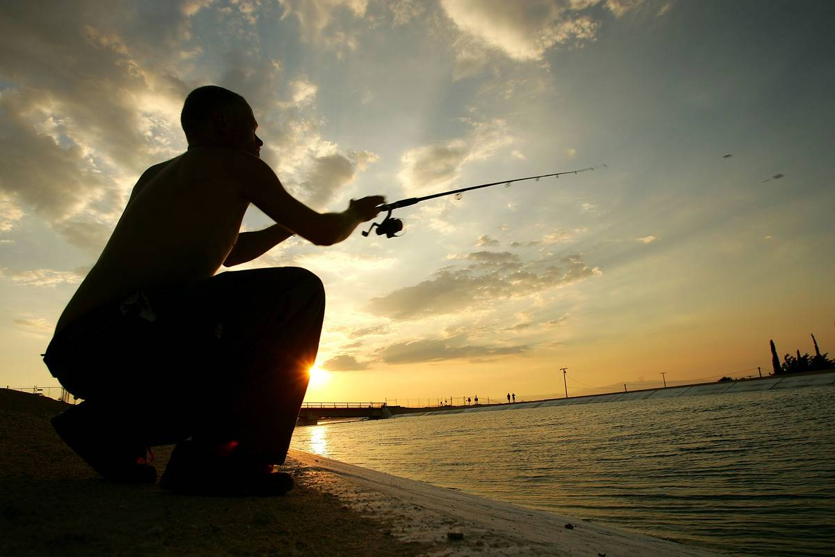 A man fishes.