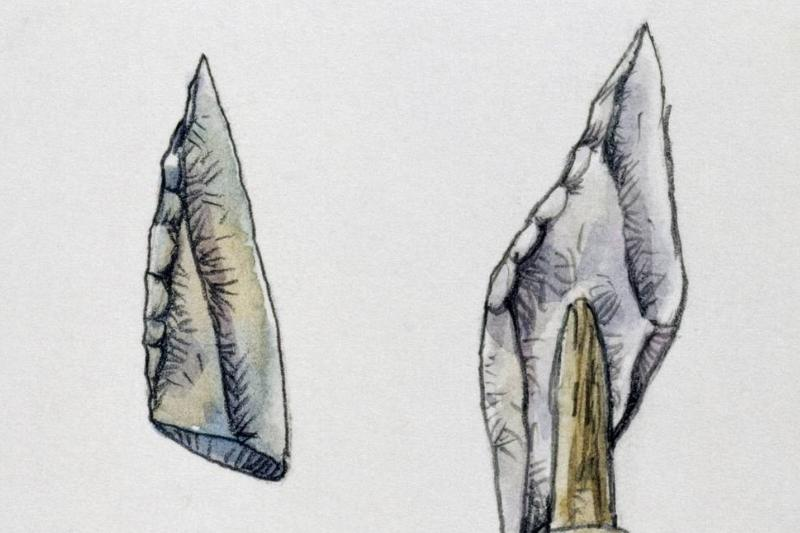 Drawings depict stone arrowheads from the Mesolithic period.