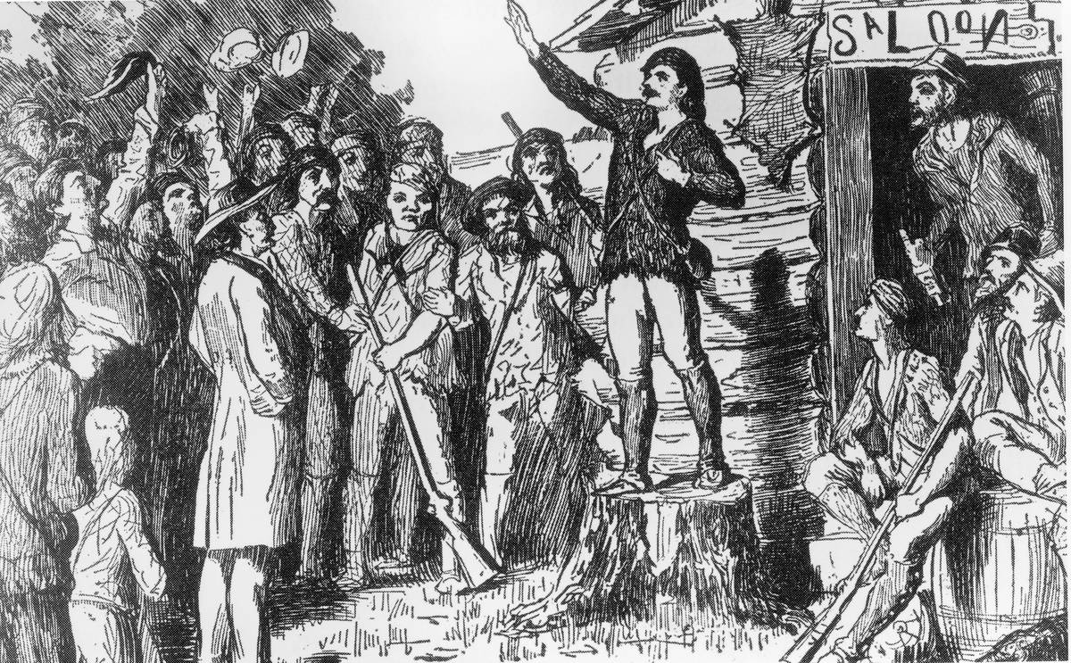 Illustration of Davy Crockett campaigning for the House of Representatives