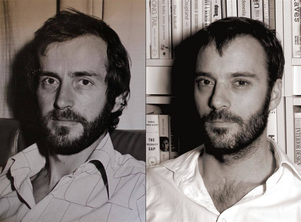 father and son posed near same age with similar facial hair