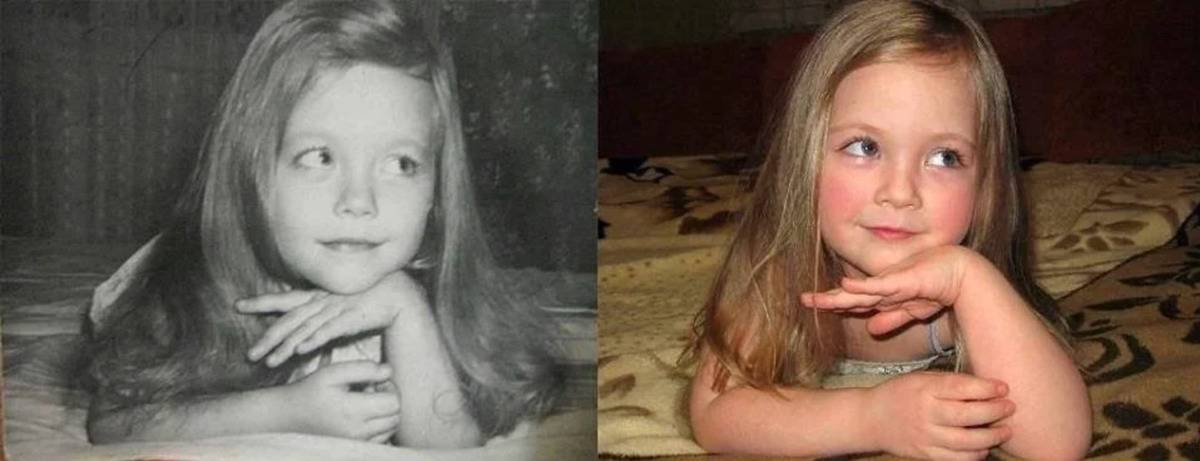 mother and daughter photographed in same sassy pose years apart