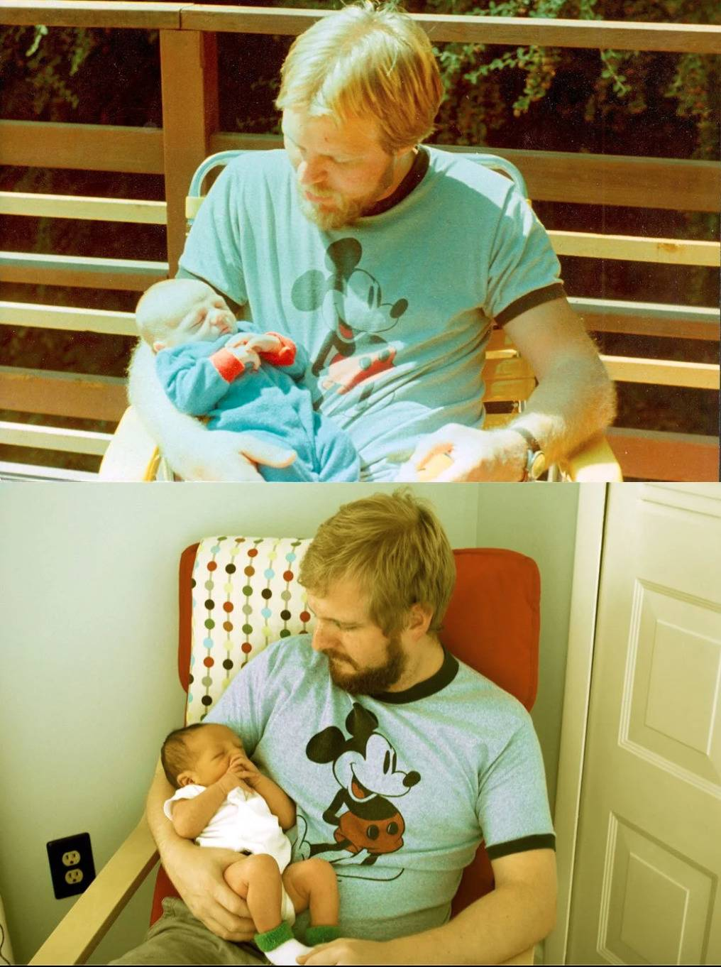man wears same shirt and holds new born in same pose as father did with him at the same age