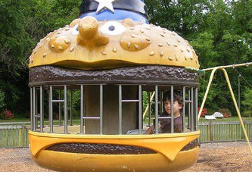 Kid in play structure