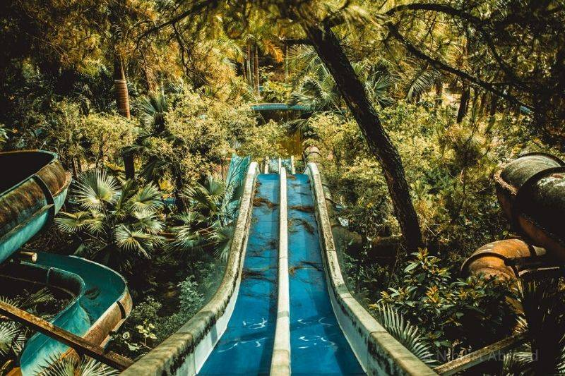 an abandoned water slide