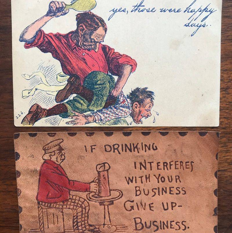 two weird post cards found in a book