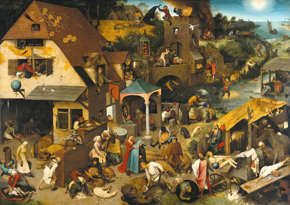 The painting Netherlandish Proverbs has many people, houses, and rivers depicting Dutch idioms.