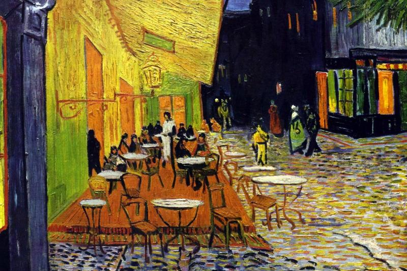 Van Gogh's painting Cafe Terrace at Night shows a waiter at an outdoor cafe.