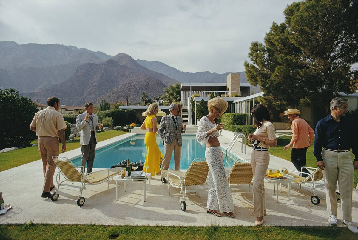 adults at pool party in Palm Springs, California, January 1970