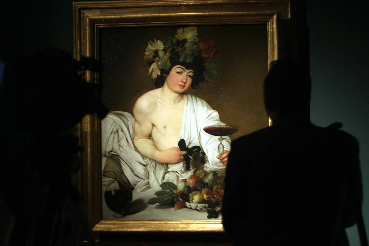 Masterpiece of Caravaggio 'Bacchus' is shown at a museum.