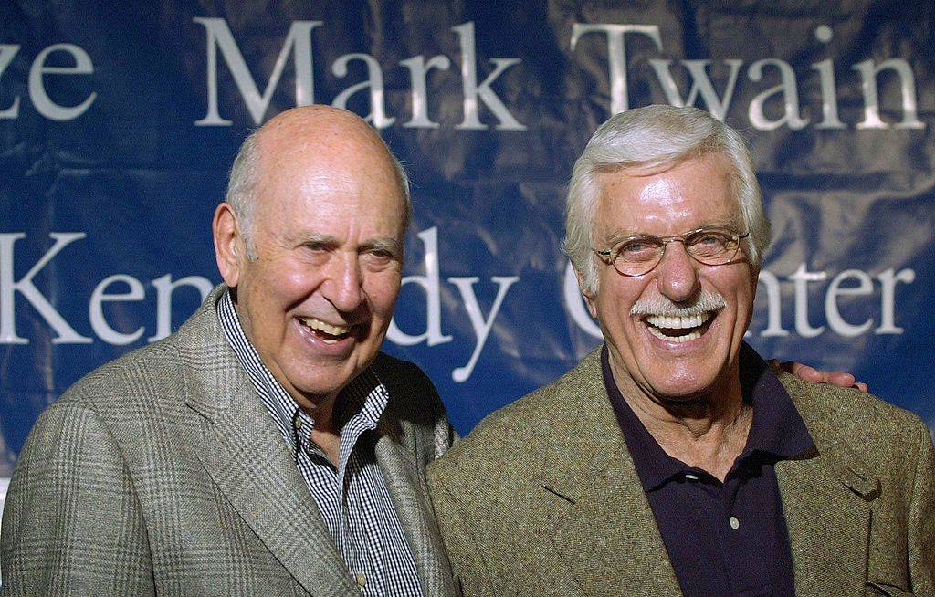 Kennedy Center Mark Twain Prize recipient comedian, director and produccer Carl Reiner (L) answers questions with actor Dick Van Dyke