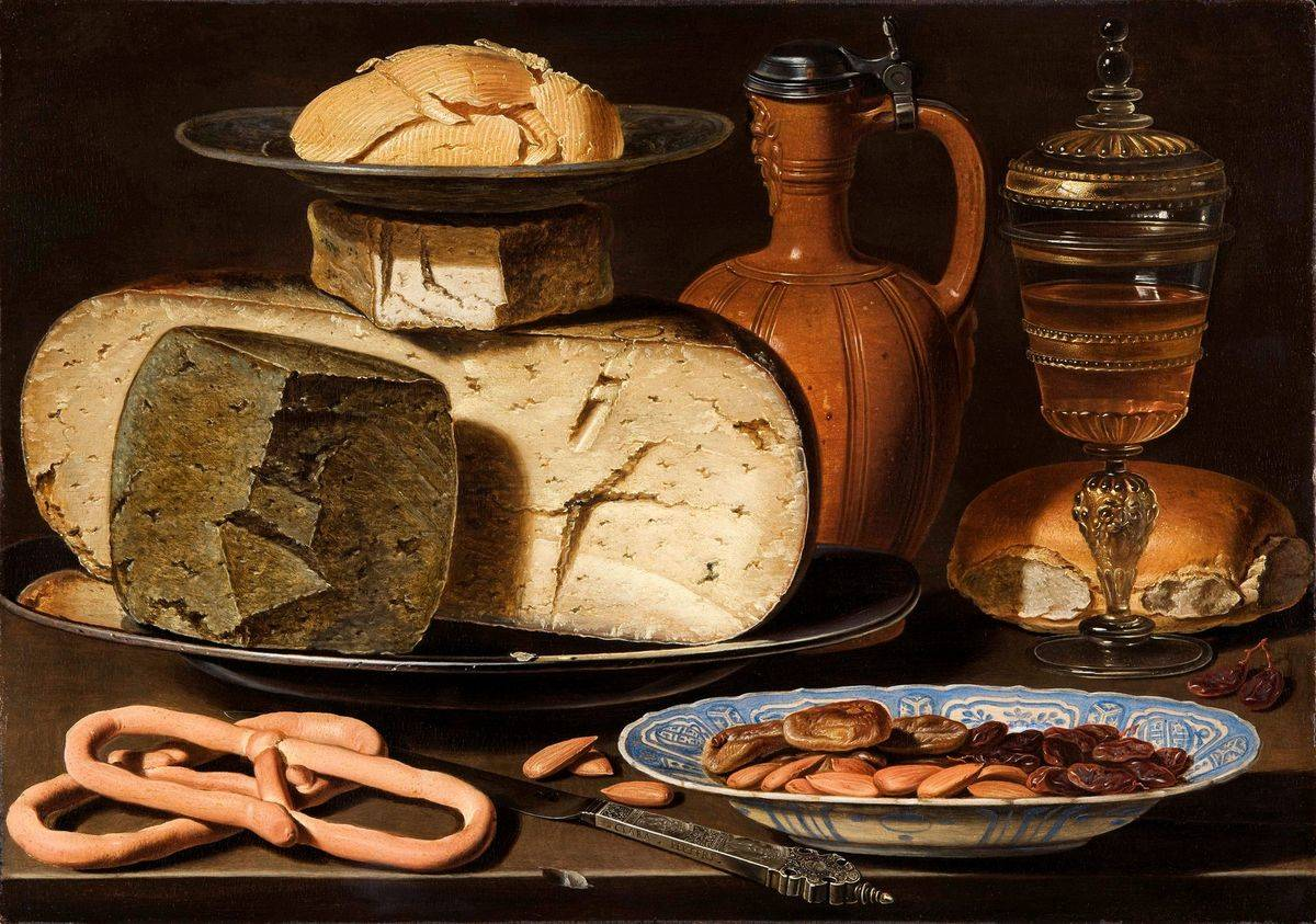 Clara Peeters's painting a Still Life with Cheeses, Almonds and Pretzels is seen.