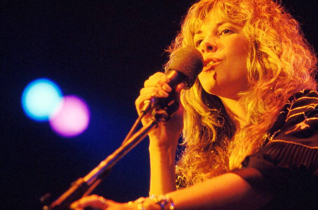 Stevie Nicks of Fleetwood Mac performs on stage, New York, 1977.