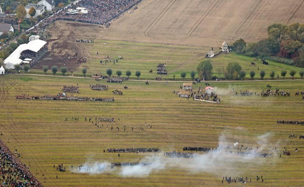 Mock battle on the battlefield