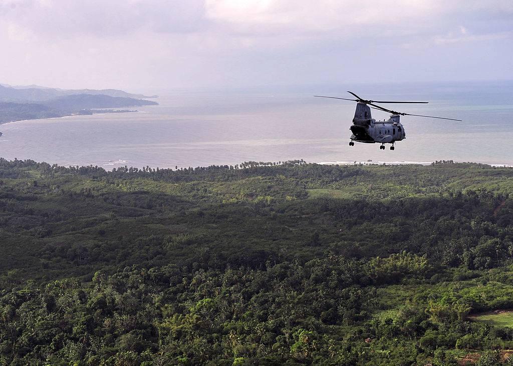 Helicopter flying over Iwo Jima