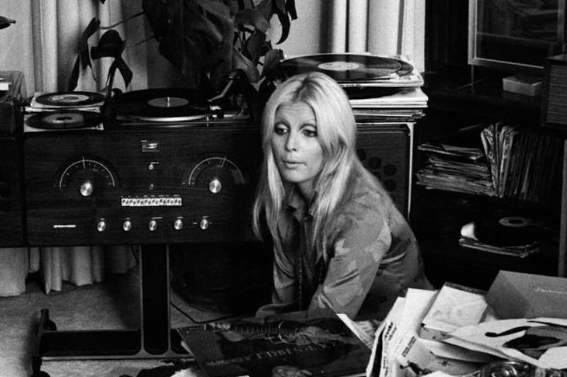 Italian Singer Patty Pravo Sitting Among Vinyls