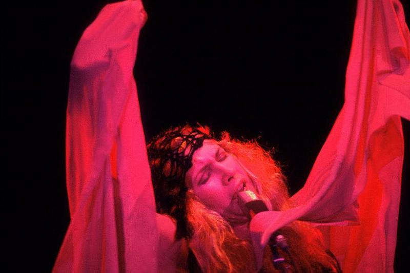 American singer Stevie Nicks, of the group Fleetwood Mac, performs onstage