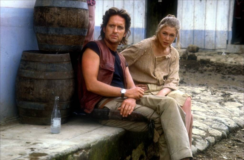 Behind The Scenes Shot Of Michael Douglas And Kathleen Turner