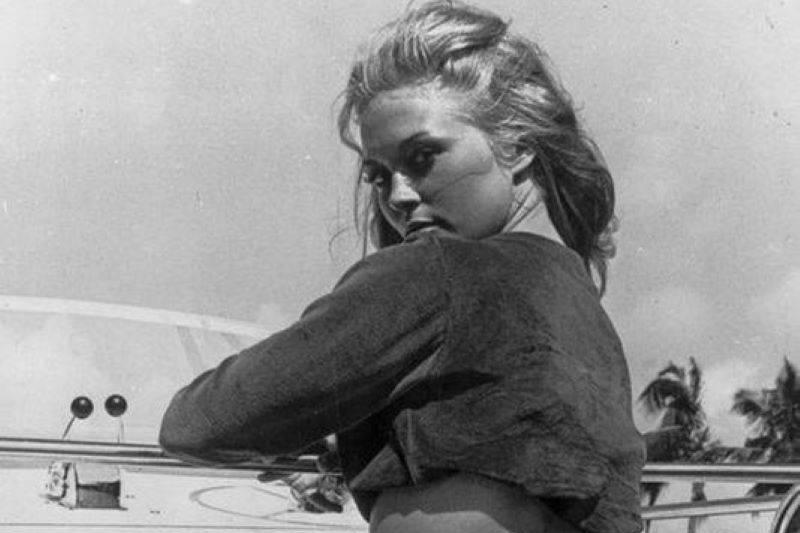 Faye Dunaway Posing On A Boat