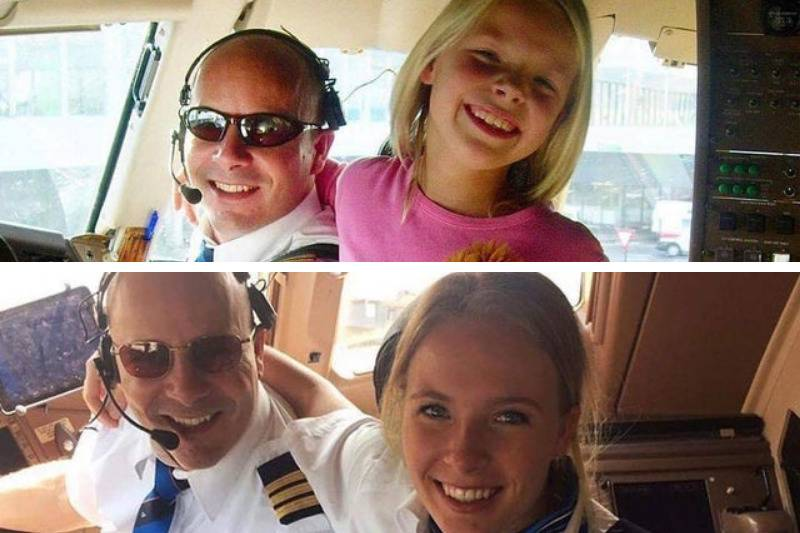 photos of father and daughter almost 10 years in the pilot cabin