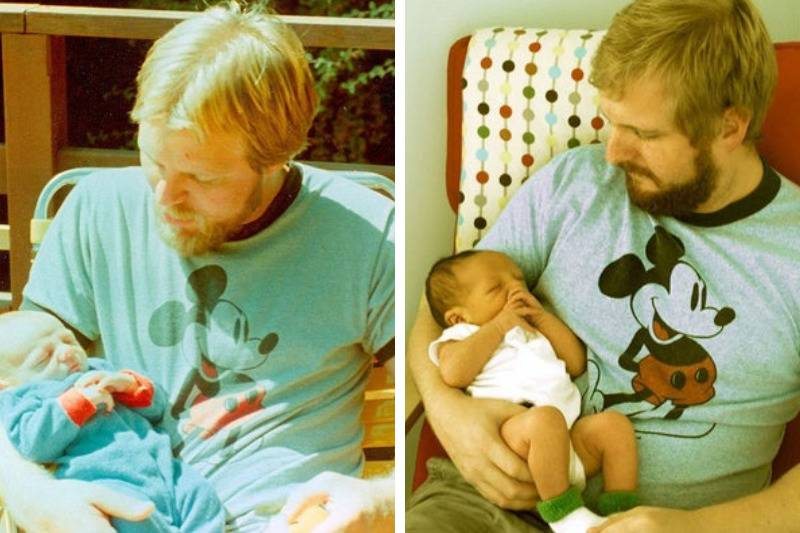 dad holding new born 29 years apart