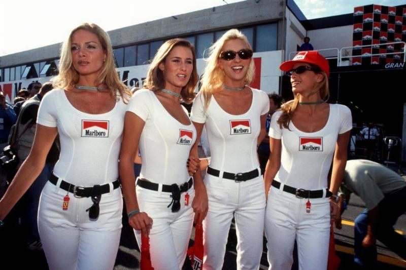 Girls in Marlboro shirts